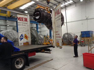 A jet engine is loaded on to one of our trailers